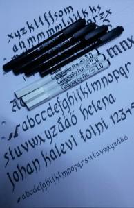 Kalligrafi. Några billiga pennor får duga tills vidare.